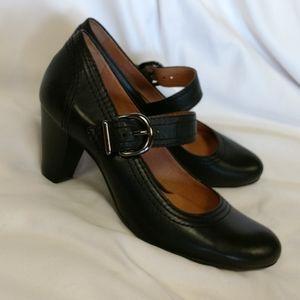 Nurture Black Leather Heels Wittney, 7.5, EUC
